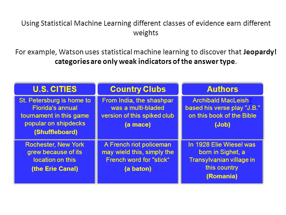 Using Statistical Machine Learning different classes of evidence earn different weights For example, Watson uses statistical machine learning to discover that Jeopardy.