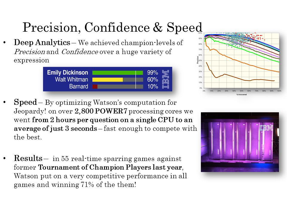 Precision, Confidence & Speed Deep Analytics – We achieved champion-levels of Precision and Confidence over a huge variety of expression Speed – By optimizing Watson's computation for Jeopardy.