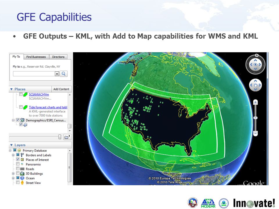 GFE Outputs – KML, with Add to Map capabilities for WMS and KML GFE Capabilities