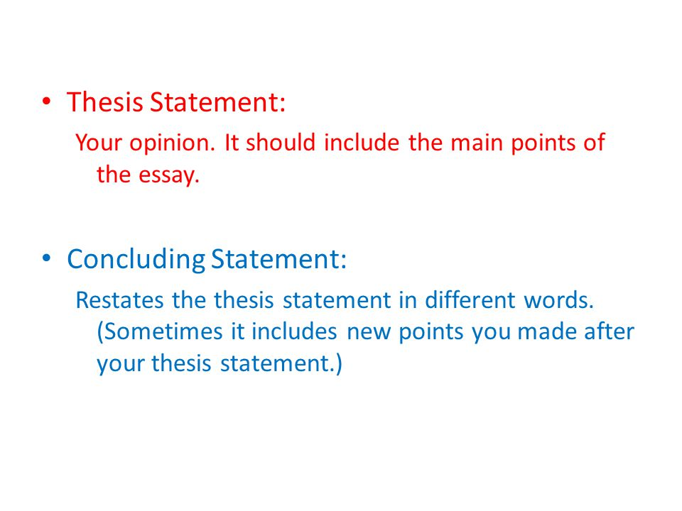 Introduction  Thesis Statement Body   Main Point    Main   Thesis