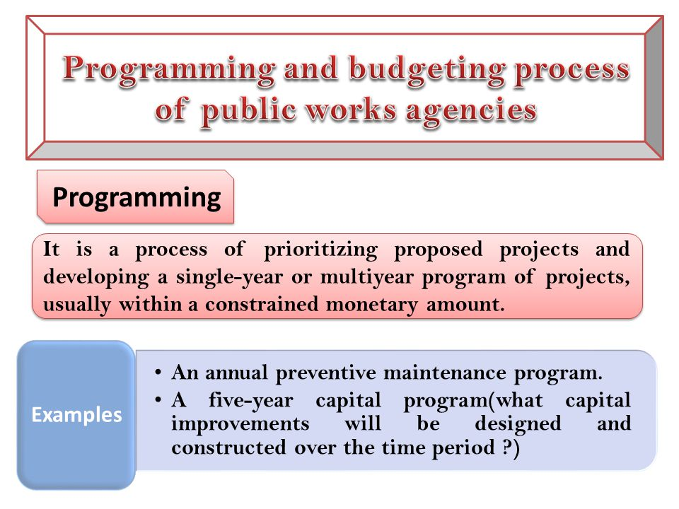 Programming It is a process of prioritizing proposed projects and developing a single-year or multiyear program of projects, usually within a constrained monetary amount.