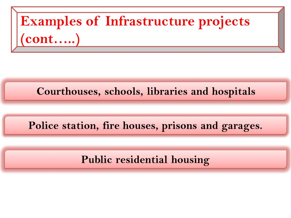 Examples of Infrastructure projects (cont…..) Courthouses, schools, libraries and hospitals Police station, fire houses, prisons and garages.