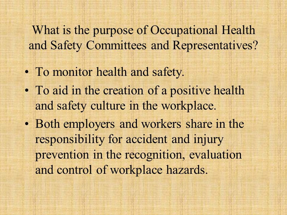 What is the purpose of Occupational Health and Safety Committees and Representatives.