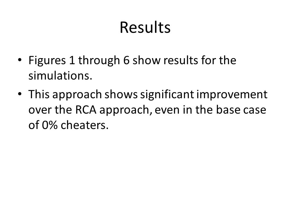 Results Figures 1 through 6 show results for the simulations.