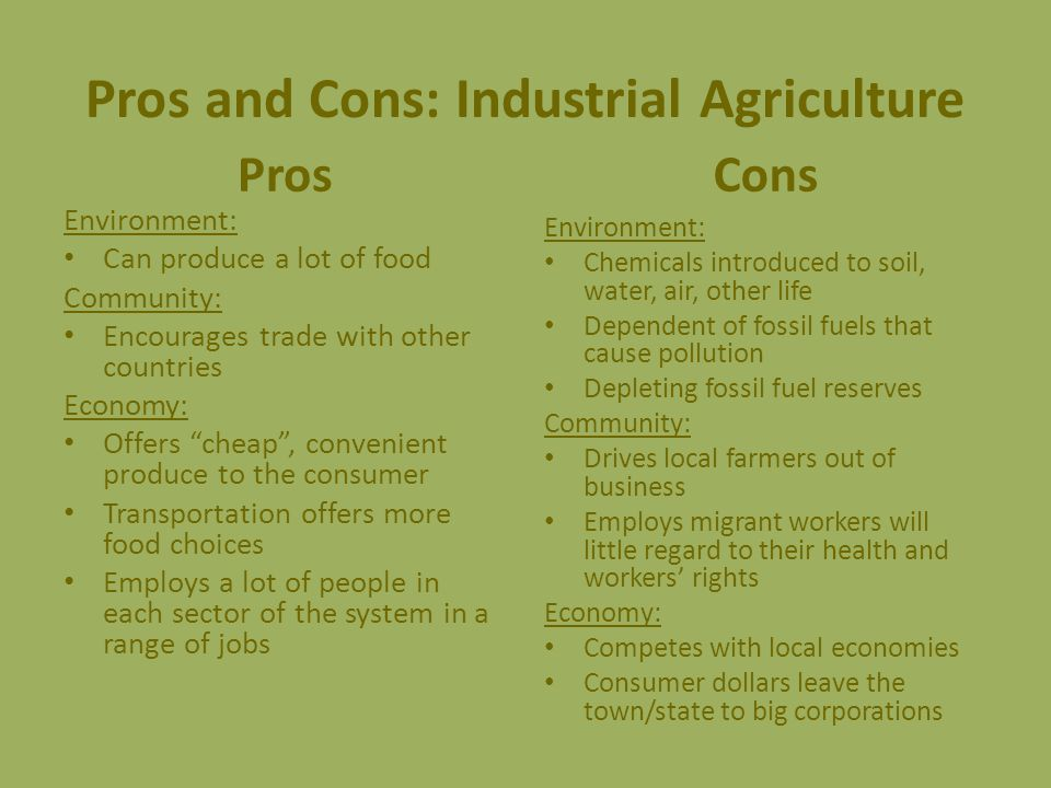 Pros and Cons: Industrial Agriculture Pros Environment: Can produce a lot of food Community: Encourages trade with other countries Economy: Offers cheap , convenient produce to the consumer Transportation offers more food choices Employs a lot of people in each sector of the system in a range of jobs Cons Environment: Chemicals introduced to soil, water, air, other life Dependent of fossil fuels that cause pollution Depleting fossil fuel reserves Community: Drives local farmers out of business Employs migrant workers will little regard to their health and workers' rights Economy: Competes with local economies Consumer dollars leave the town/state to big corporations