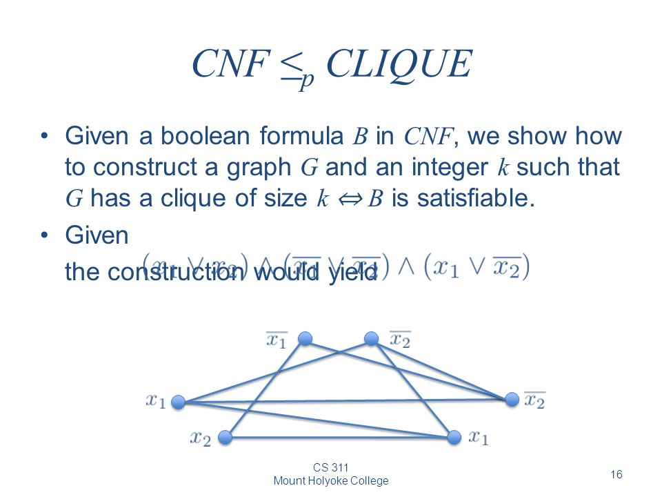 CS 311 Mount Holyoke College 16 CNF ≤ p CLIQUE Given a boolean formula B in CNF, we show how to construct a graph G and an integer k such that G has a clique of size k ⇔ B is satisfiable.