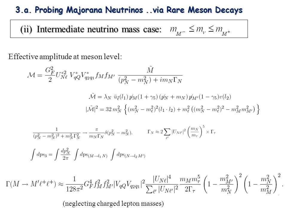Effective amplitude at meson level: (neglecting charged lepton masses) (ii) Intermediate neutrino mass case: (ii) Intermediate neutrino mass case: 3.a.