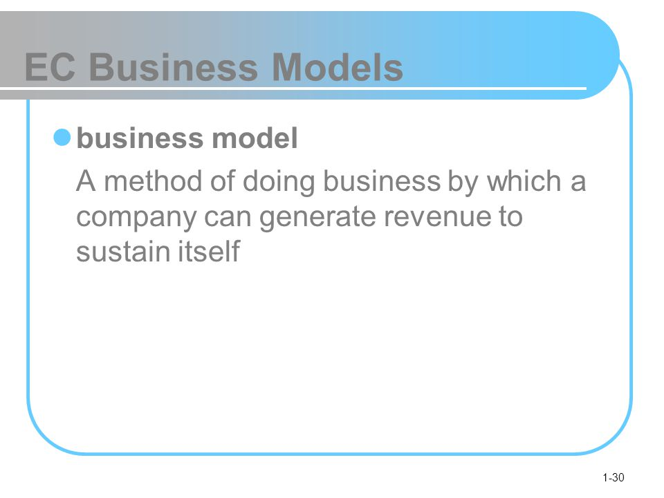 1-30 EC Business Models business model A method of doing business by which a company can generate revenue to sustain itself