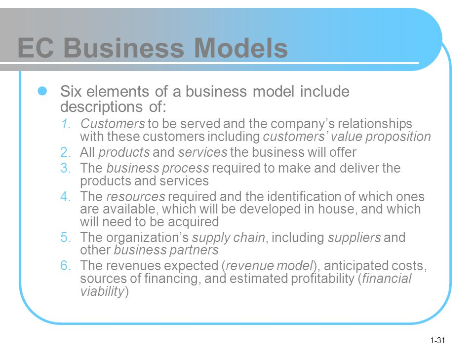 1-31 EC Business Models Six elements of a business model include descriptions of: 1.Customers to be served and the company's relationships with these customers including customers' value proposition 2.All products and services the business will offer 3.The business process required to make and deliver the products and services 4.The resources required and the identification of which ones are available, which will be developed in house, and which will need to be acquired 5.The organization's supply chain, including suppliers and other business partners 6.The revenues expected (revenue model), anticipated costs, sources of financing, and estimated profitability (financial viability)