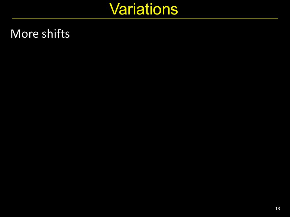 13 Variations More shifts