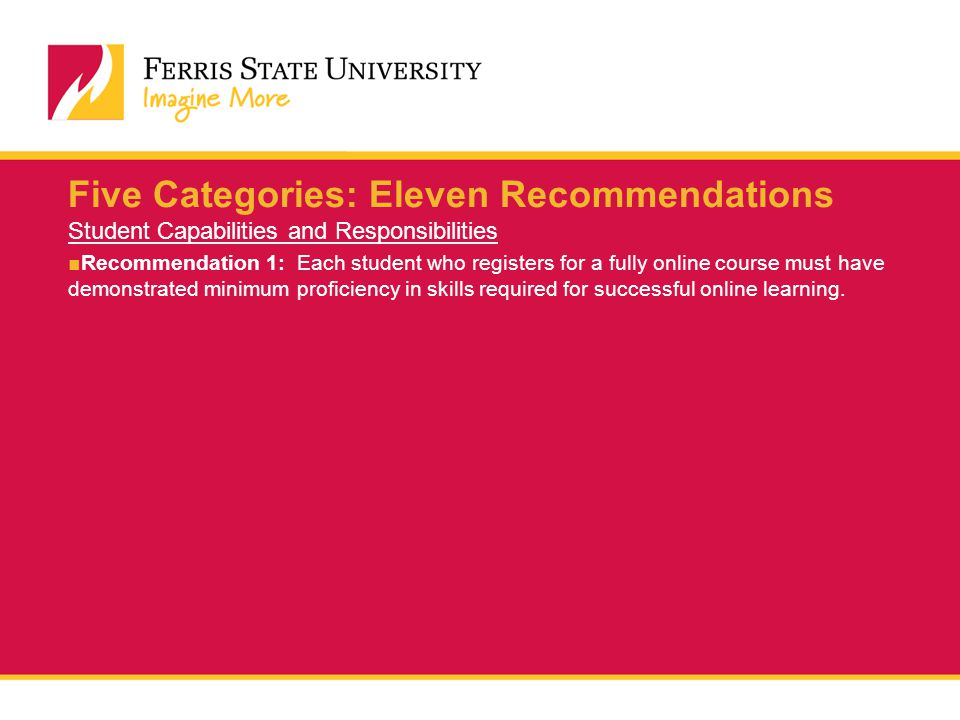 Five Categories: Eleven Recommendations Student Capabilities and Responsibilities ■Recommendation 1: Each student who registers for a fully online course must have demonstrated minimum proficiency in skills required for successful online learning.