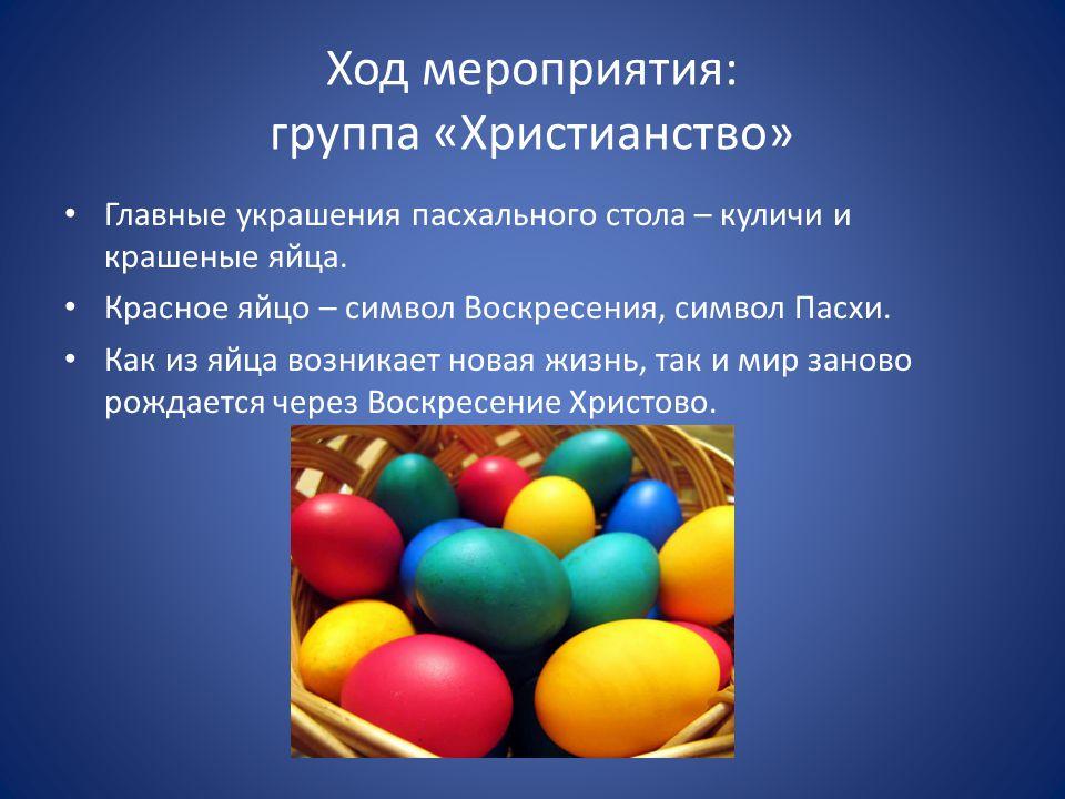 Ход мероприятия: группа «Христианство» Главные украшения пасхального стола – куличи и крашеные яйца.