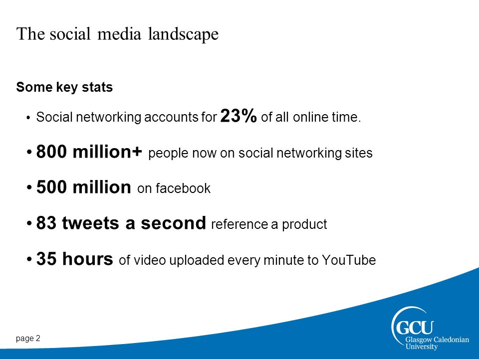 page 2 The social media landscape Some key stats Social networking accounts for 23% of all online time.