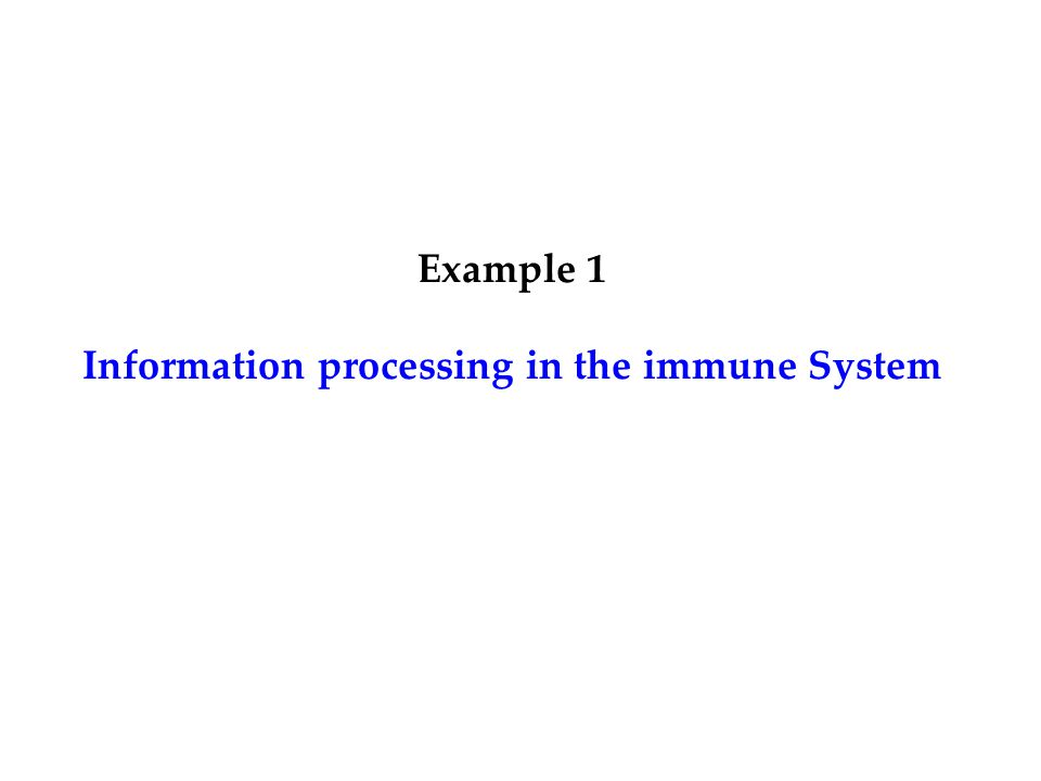 Example 1 Information processing in the immune System