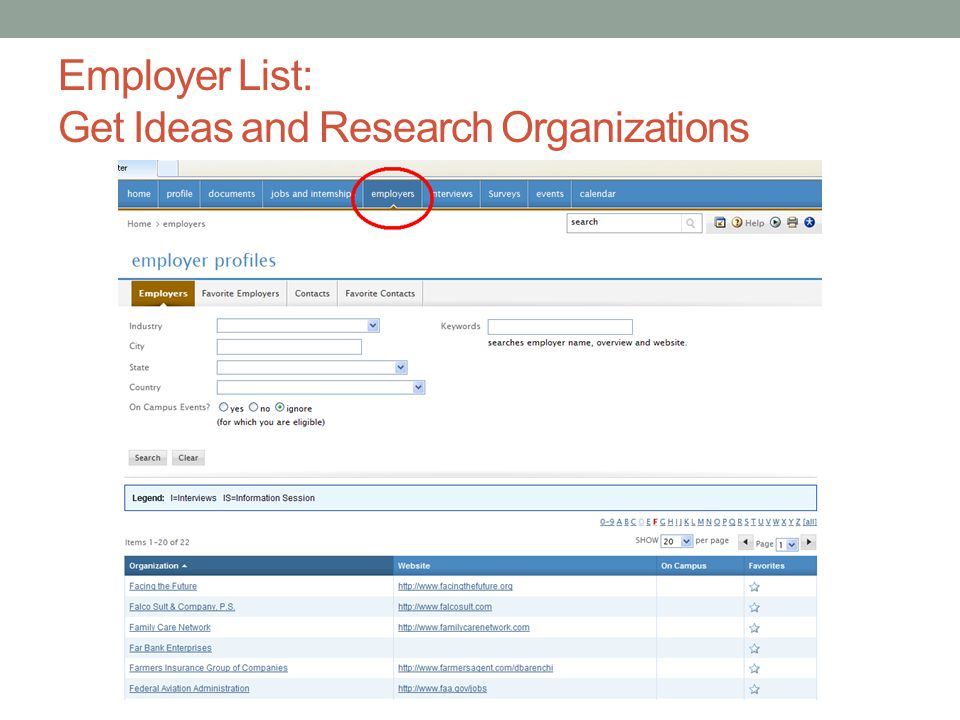 Employer List: Get Ideas and Research Organizations