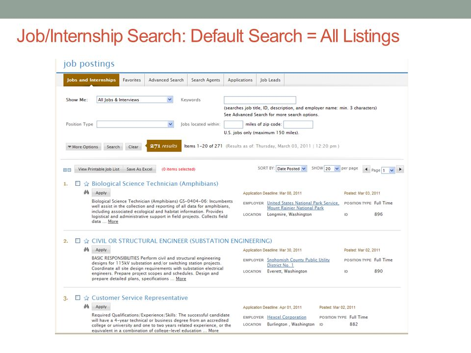 Job/Internship Search: Default Search = All Listings