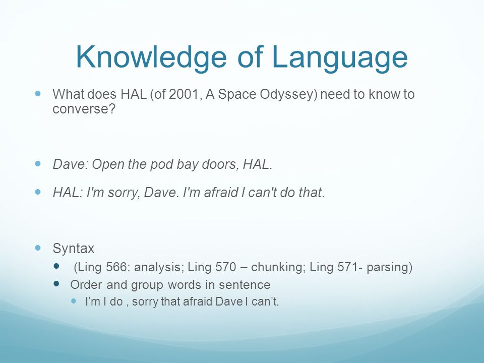 Knowledge of Language What does HAL (of 2001, A Space Odyssey) need to know to converse.