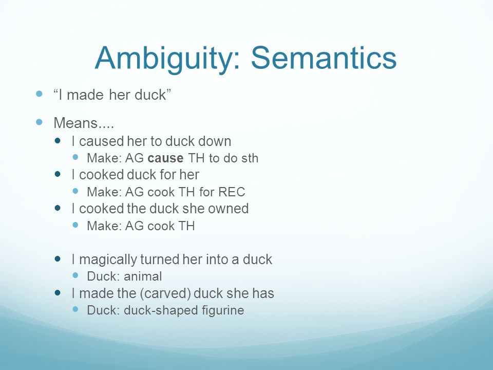 Ambiguity: Semantics I made her duck Means....