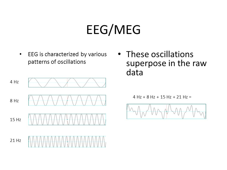 EEG/MEG EEG is characterized by various patterns of oscillations These oscillations superpose in the raw data 4 Hz 8 Hz 15 Hz 21 Hz 4 Hz + 8 Hz + 15 Hz + 21 Hz =