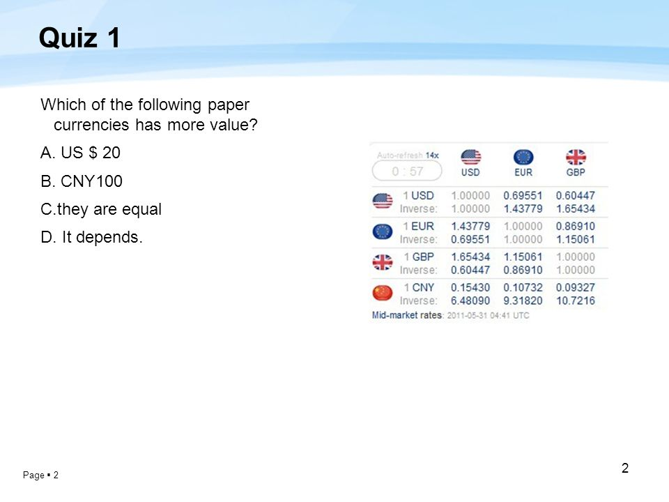 Page  2 2 Quiz 1 Which of the following paper currencies has more value.