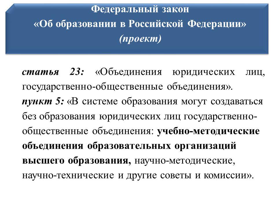 статья 23: «Объединения юридических лиц, государственно-общественные объединения».