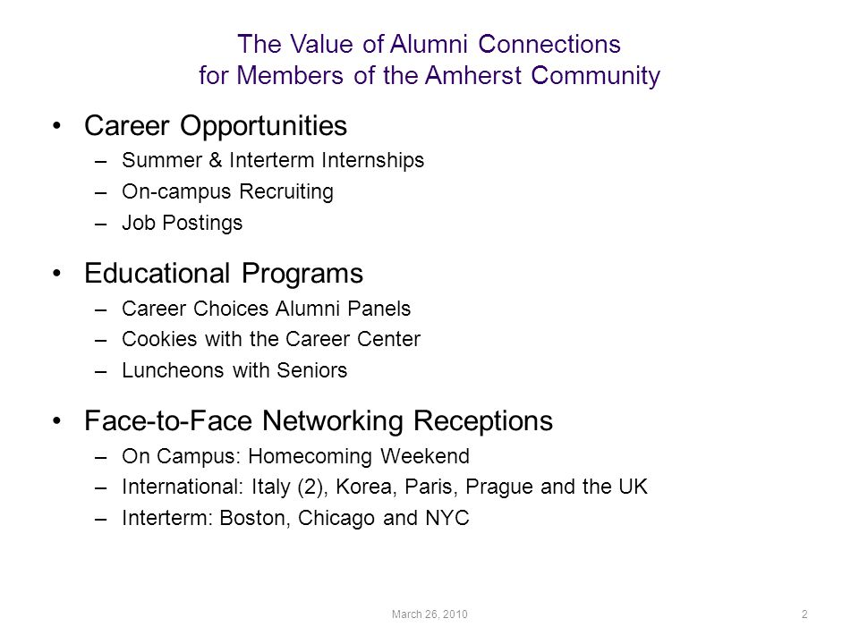 The Value of Alumni Connections for Members of the Amherst Community Career Opportunities –Summer & Interterm Internships –On-campus Recruiting –Job Postings Educational Programs –Career Choices Alumni Panels –Cookies with the Career Center –Luncheons with Seniors Face-to-Face Networking Receptions –On Campus: Homecoming Weekend –International: Italy (2), Korea, Paris, Prague and the UK –Interterm: Boston, Chicago and NYC March 26, 20102