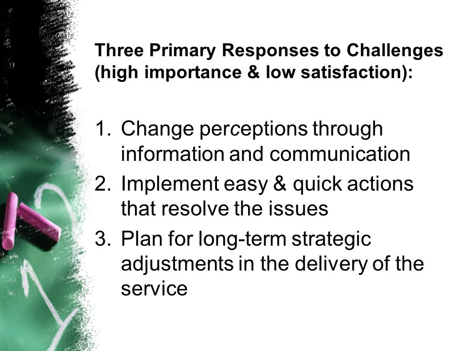 Three Primary Responses to Challenges (high importance & low satisfaction): 1.Change perceptions through information and communication 2.Implement easy & quick actions that resolve the issues 3.Plan for long-term strategic adjustments in the delivery of the service