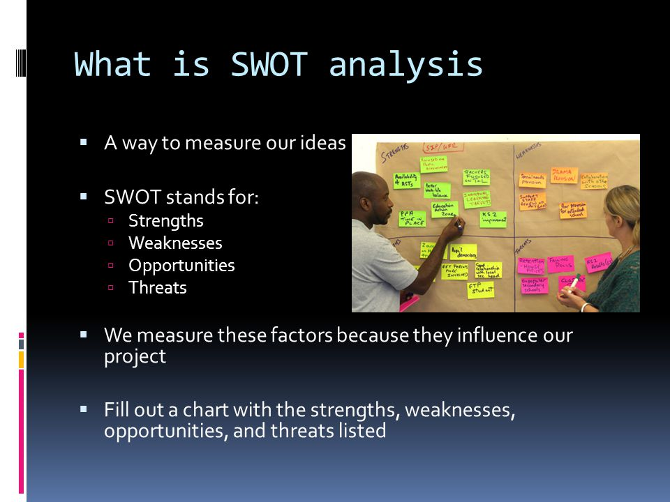 What is SWOT analysis  A way to measure our ideas  SWOT stands for:  Strengths  Weaknesses  Opportunities  Threats  We measure these factors because they influence our project  Fill out a chart with the strengths, weaknesses, opportunities, and threats listed