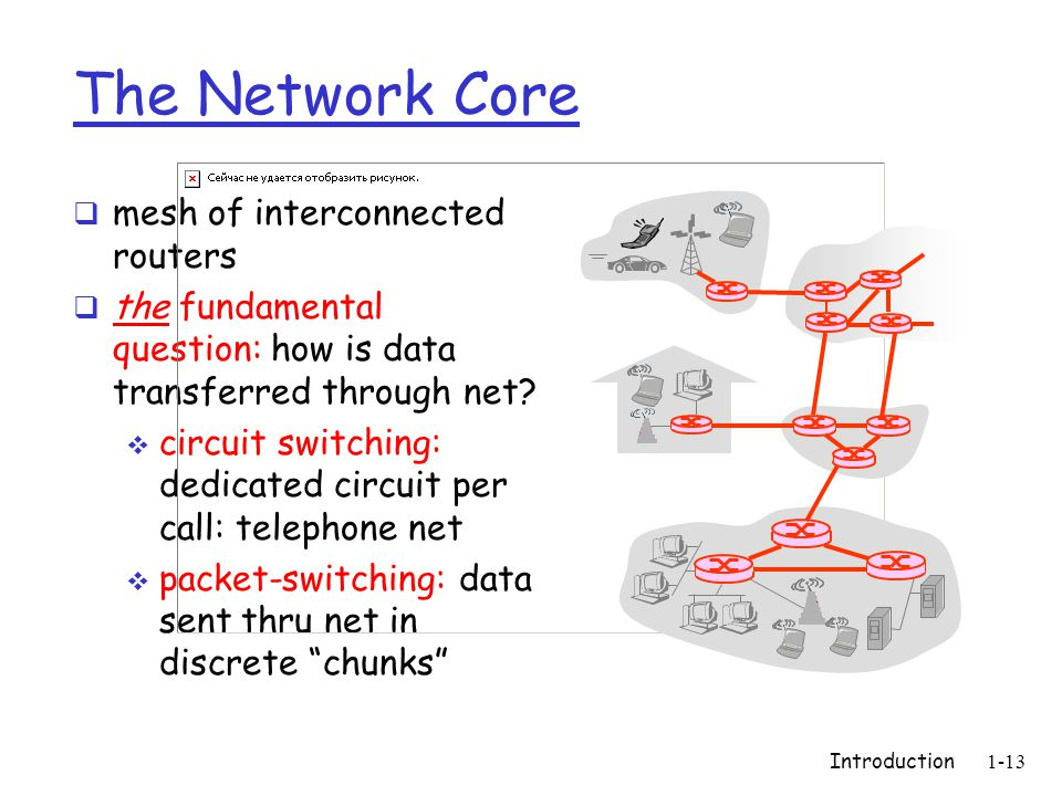 Introduction1-13 The Network Core  mesh of interconnected routers  the fundamental question: how is data transferred through net.