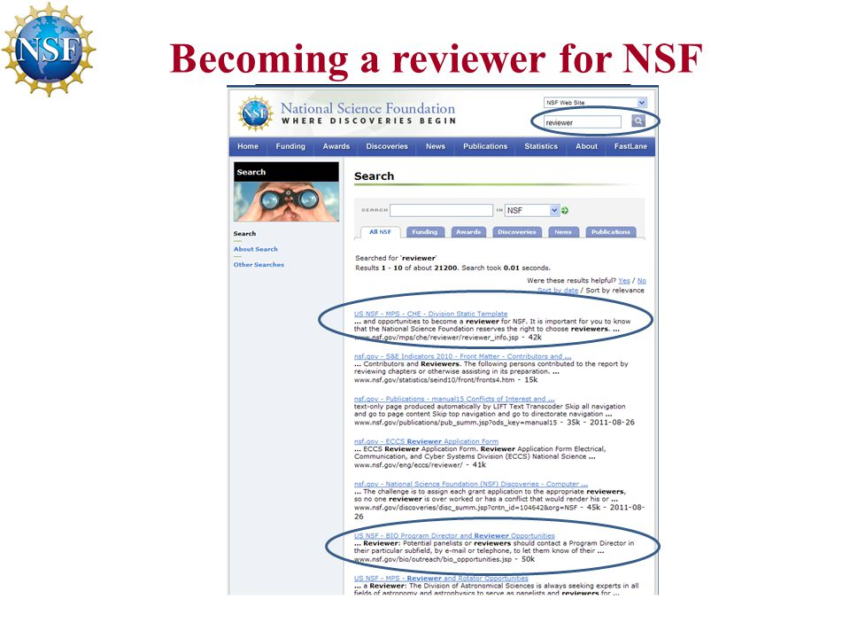 Becoming a reviewer for NSF