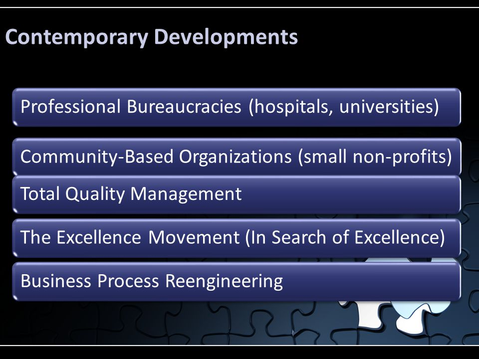 Professional Bureaucracies (hospitals, universities)Community-Based Organizations (small non-profits)Total Quality ManagementThe Excellence Movement (In Search of Excellence)Business Process Reengineering Contemporary Developments