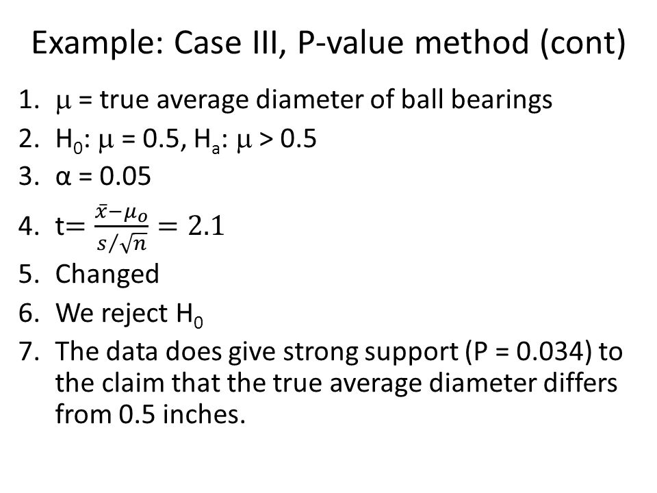 Example: Case III, P-value method (cont)