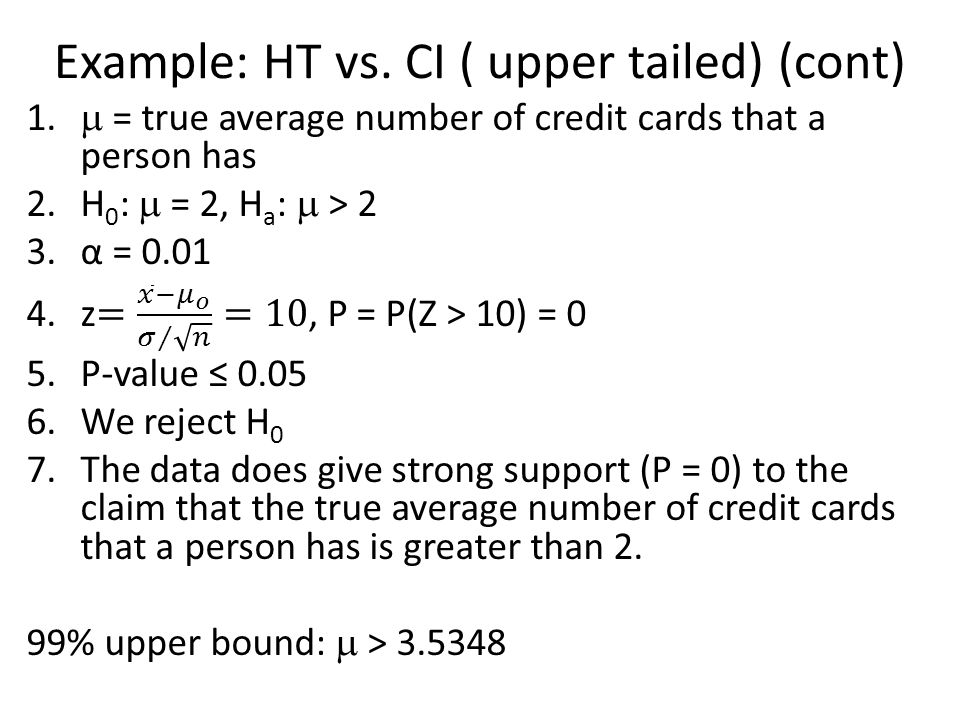 Example: HT vs. CI ( upper tailed) (cont)