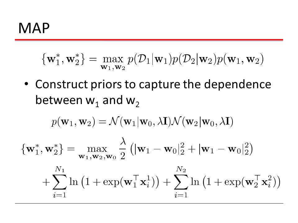 MAP Construct priors to capture the dependence between w 1 and w 2