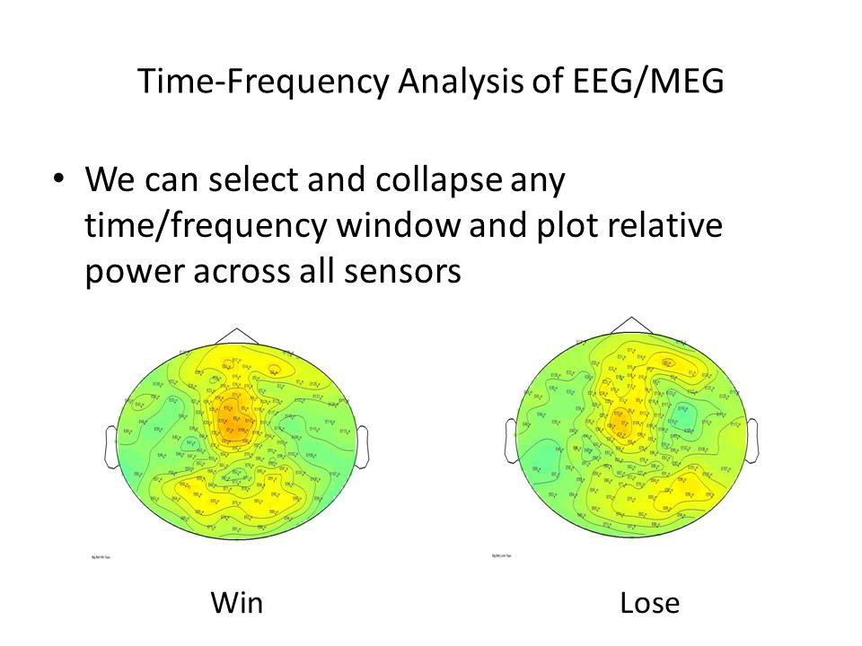 Time-Frequency Analysis of EEG/MEG We can select and collapse any time/frequency window and plot relative power across all sensors WinLose