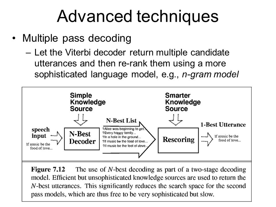 Advanced techniques Multiple pass decoding –Let the Viterbi decoder return multiple candidate utterances and then re-rank them using a more sophisticated language model, e.g., n-gram model