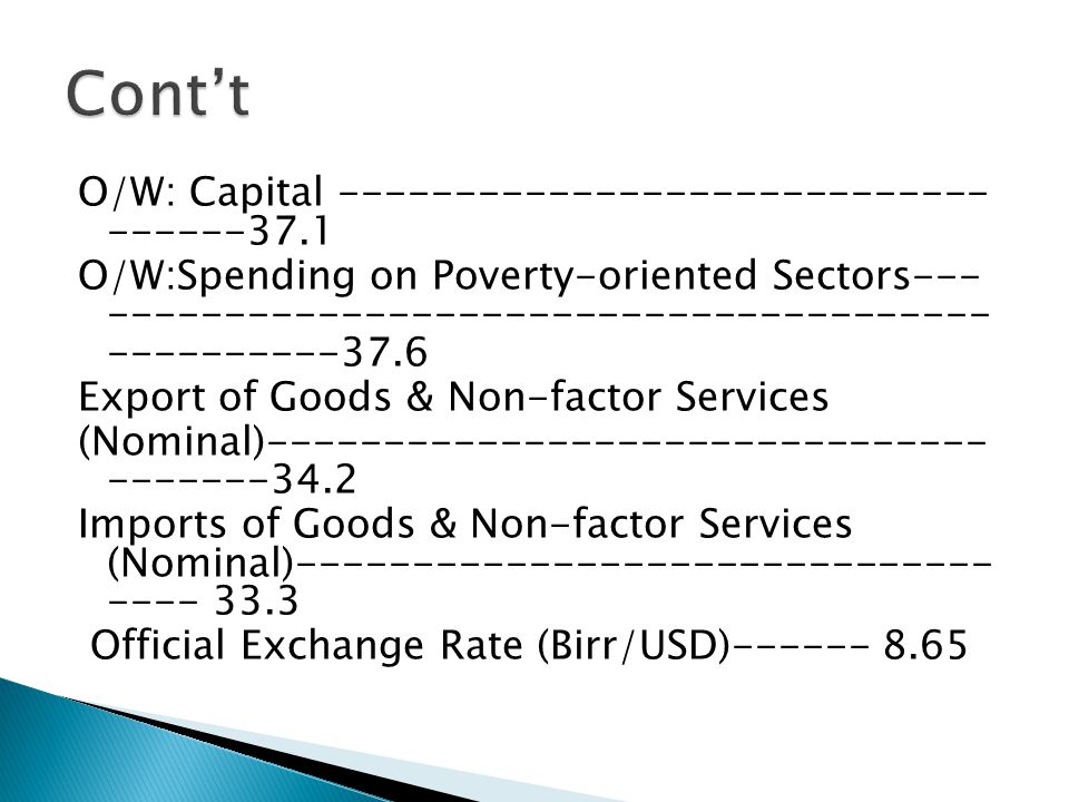 O/W: Capital O/W:Spending on Poverty-oriented Sectors Export of Goods & Non-factor Services (Nominal) Imports of Goods & Non-factor Services (Nominal) Official Exchange Rate (Birr/USD)