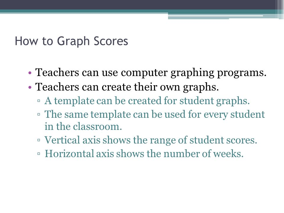 How to Graph Scores Teachers can use computer graphing programs.