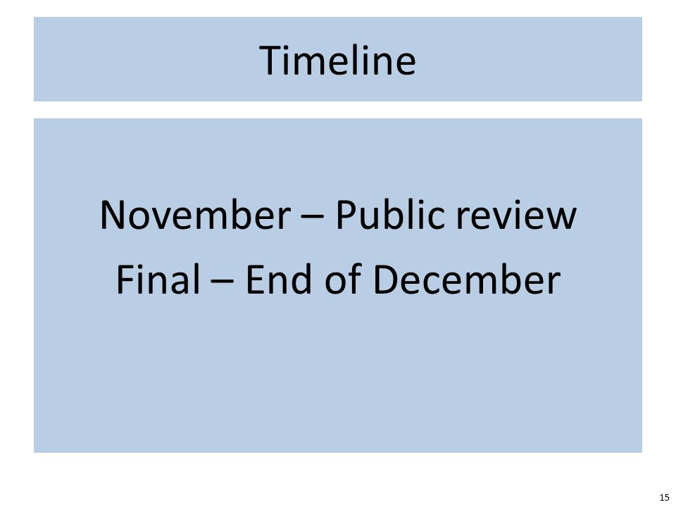 Timeline 15 November – Public review Final – End of December