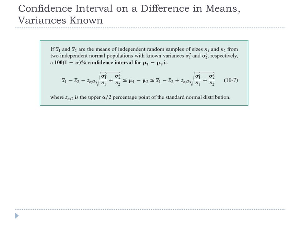 Confidence Interval on a Difference in Means, Variances Known