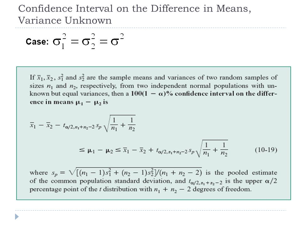 Confidence Interval on the Difference in Means, Variance Unknown Case: