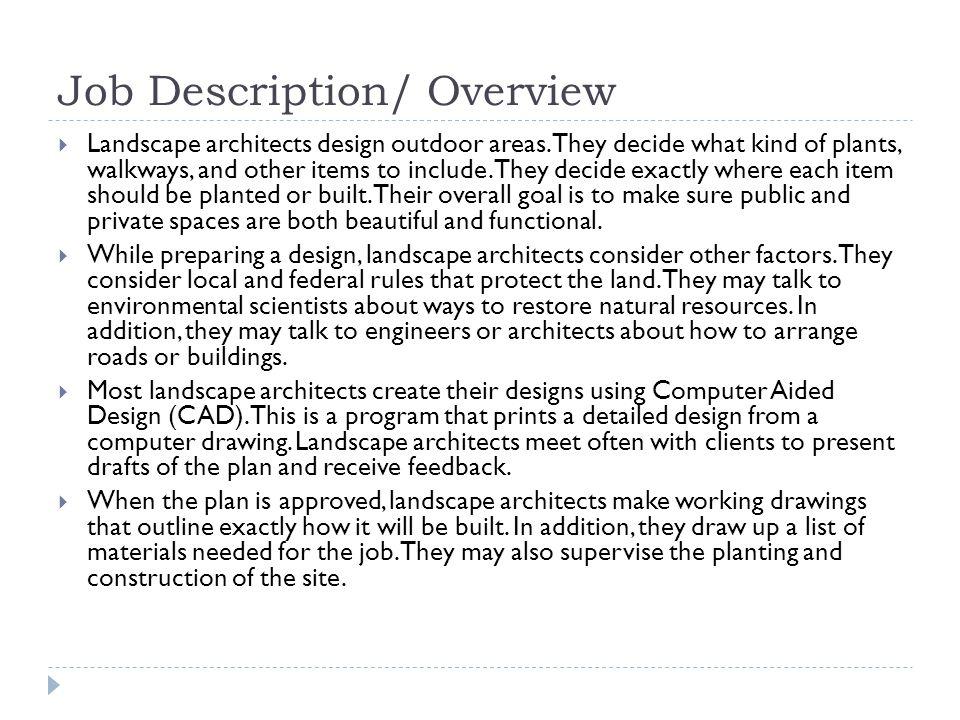 Image Gallery landscape architect job description