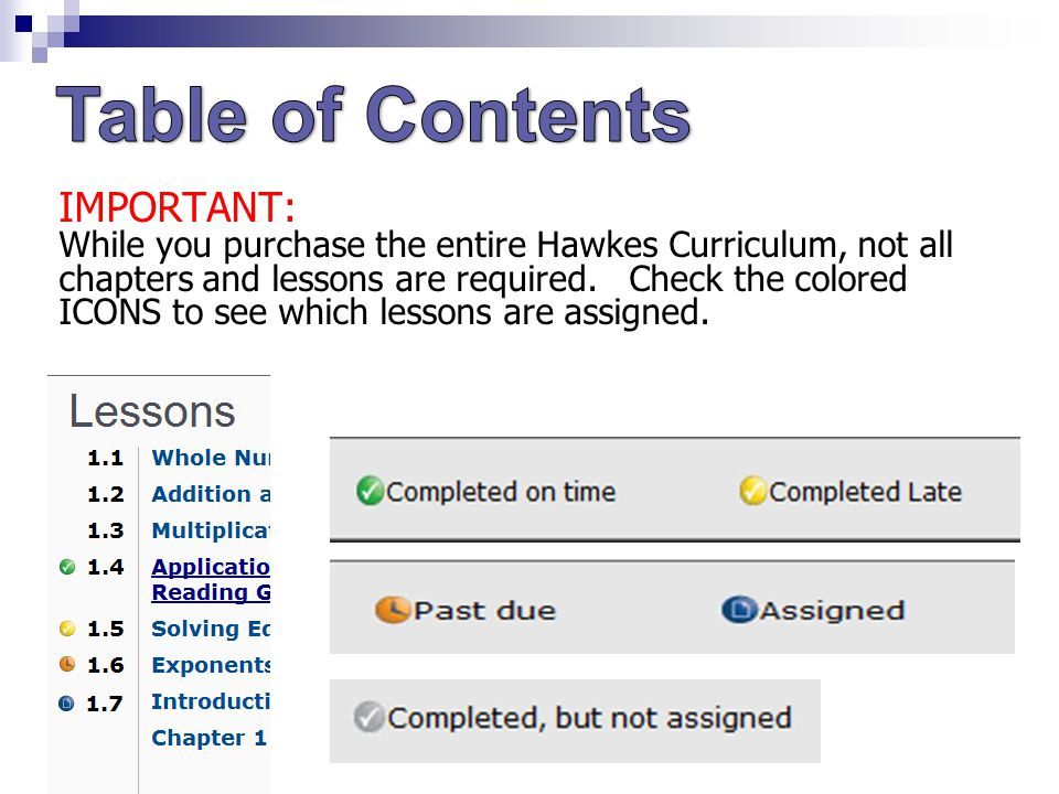 IMPORTANT: While you purchase the entire Hawkes Curriculum, not all chapters and lessons are required.