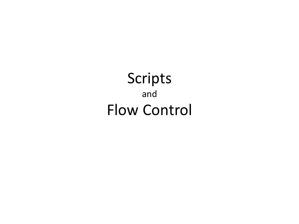 Scripts and Flow Control