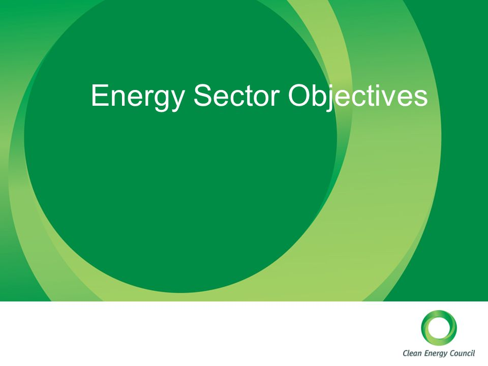 Energy Sector Objectives