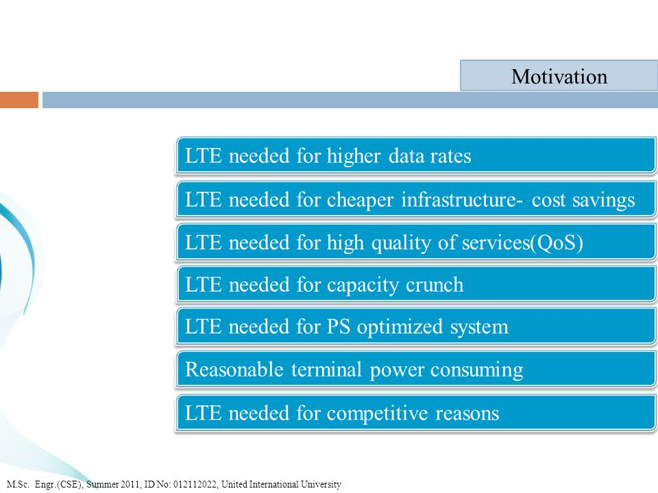 LTE needed for higher data rates Motivation LTE needed for cheaper infrastructure- cost savings LTE needed for high quality of services(QoS) LTE needed for capacity crunch LTE needed for PS optimized system LTE needed for competitive reasons Reasonable terminal power consuming M.Sc.