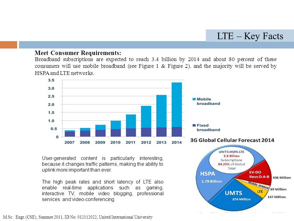 LTE – Key Facts Broadband subscriptions are expected to reach 3.4 billion by 2014 and about 80 percent of these consumers will use mobile broadband (see Figure 1 & Figure 2).
