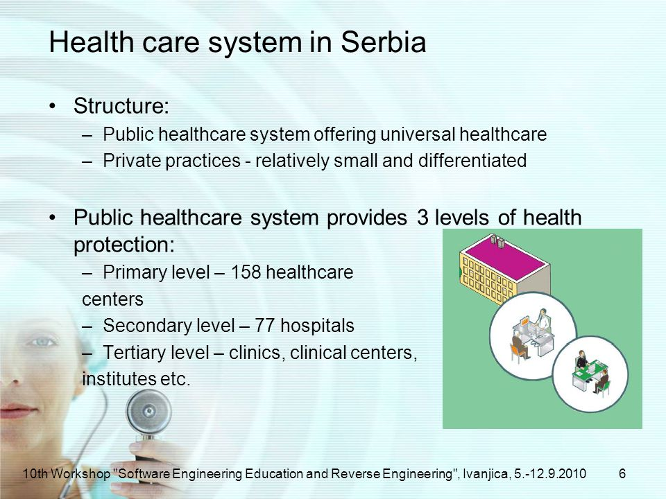 Health care system in Serbia Structure: –Public healthcare system offering universal healthcare –Private practices - relatively small and differentiated Public healthcare system provides 3 levels of health protection: –Primary level – 158 healthcare centers –Secondary level – 77 hospitals –Tertiary level – clinics, clinical centers, institutes etc.