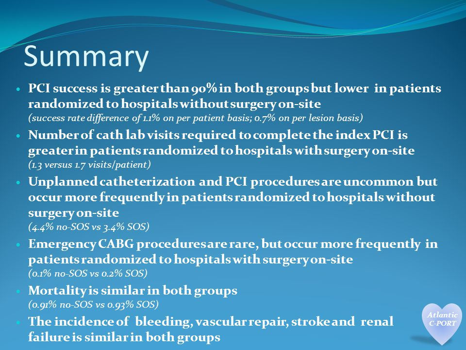 Summary PCI success is greater than 90% in both groups but lower in patients randomized to hospitals without surgery on-site (success rate difference of 1.1% on per patient basis; 0.7% on per lesion basis) Number of cath lab visits required to complete the index PCI is greater in patients randomized to hospitals with surgery on-site (1.3 versus 1.7 visits/patient) Unplanned catheterization and PCI procedures are uncommon but occur more frequently in patients randomized to hospitals without surgery on-site (4.4% no-SOS vs 3.4% SOS) Emergency CABG procedures are rare, but occur more frequently in patients randomized to hospitals with surgery on-site (0.1% no-SOS vs 0.2% SOS) Mortality is similar in both groups (0.91% no-SOS vs 0.93% SOS) The incidence of bleeding, vascular repair, stroke and renal failure is similar in both groups