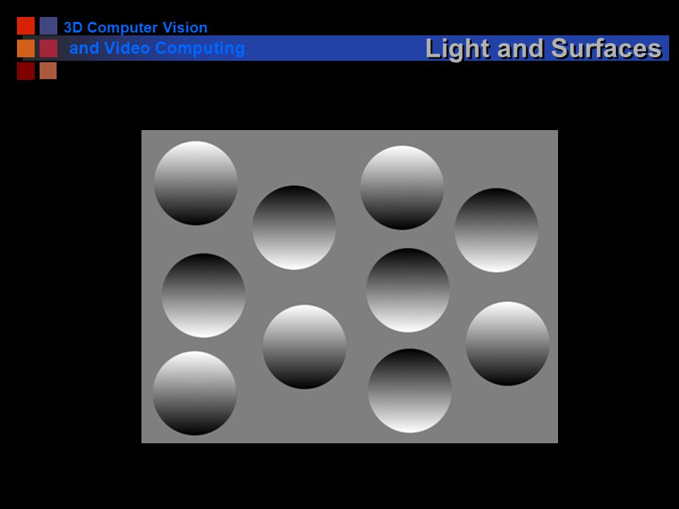 3D Computer Vision and Video Computing Light and Surfaces
